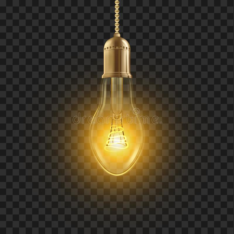 Gloeilampenvector Het gloeien glanst Lampbol gloeidraadpictogram 3D Realistische Transparante Illustratie vector illustratie