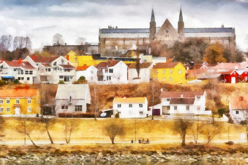 Gloeshaugen, Trondheim. Digital art, aquarell : The vew of the park Gloeshaugen and residential district along the river Nidelva in the Norwegian city Trondheim royalty free illustration