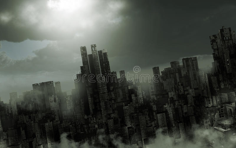 Gloomy apocalyptic scenery. With ruined city and fog royalty free illustration