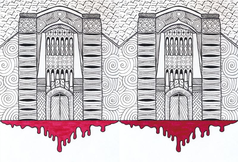 A gloomy castle with a handle pattern and a bloody smudge. Of a red felt-tip pen stock illustration