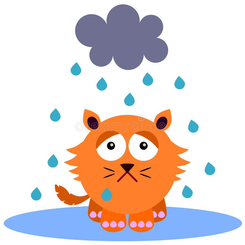 Gloomy cat. A cartoon illustration of a gloomy cat under the rain stock illustration