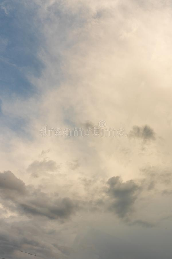 Gloomy cloudy sky, gray clouds, vertical photo stock photo