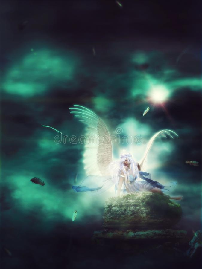 Lone Angel in the Dark. Gloomy dark landscape with 3d female angel with white hair and wings