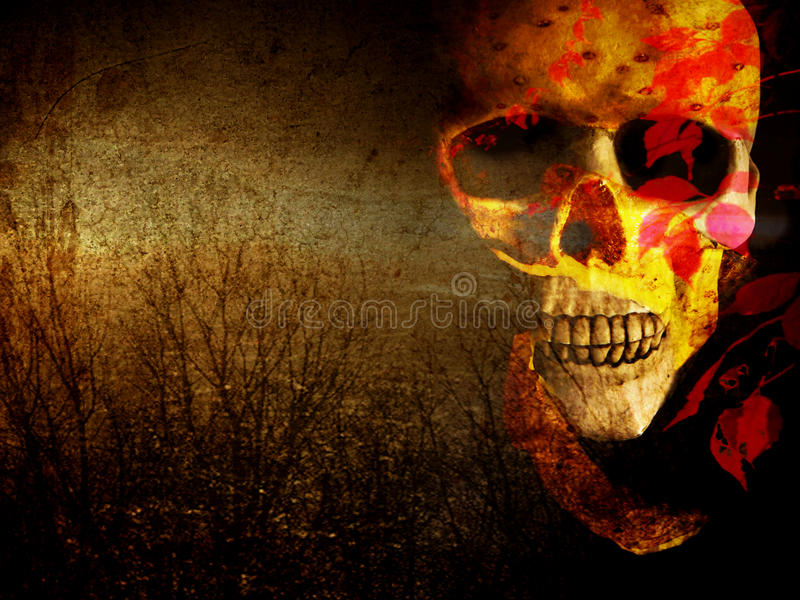 Gloomy decorative skull. Multilayered photomanipulation featuring a skull on a gloomy background. Suitable for backgrounds, covers and illustration royalty free illustration