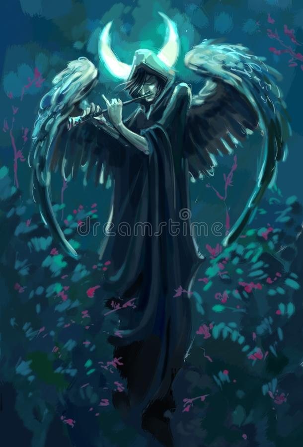 Gloomy flutist with angel wings under the moon. Gloomy dark angel the musician plays a flute at night, against the background of the moon royalty free illustration