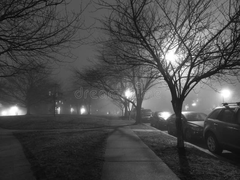Gloomy Foggy Neighborhood stock images