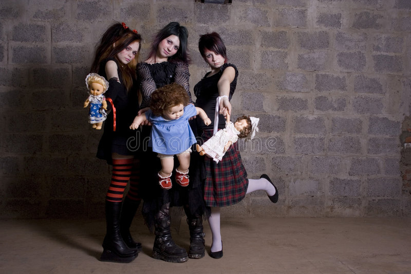 Gloomy girls royalty free stock photography