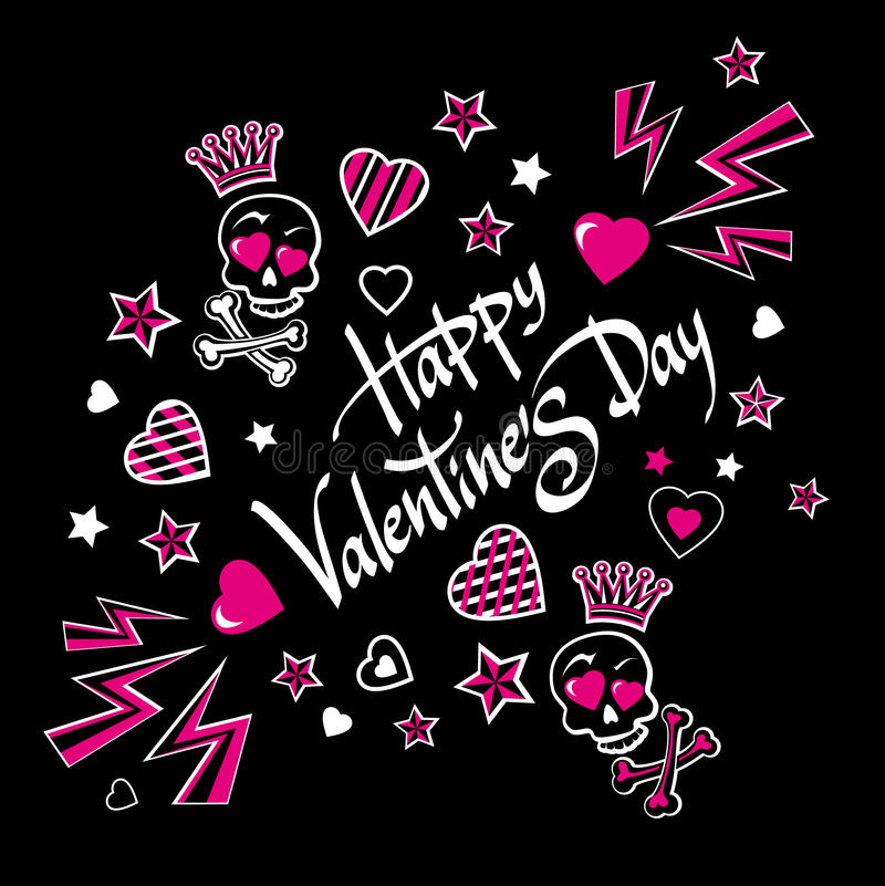 Gloomy and grim illustration-postcard for Valentine's Day with funny lovers skulls. vector illustration