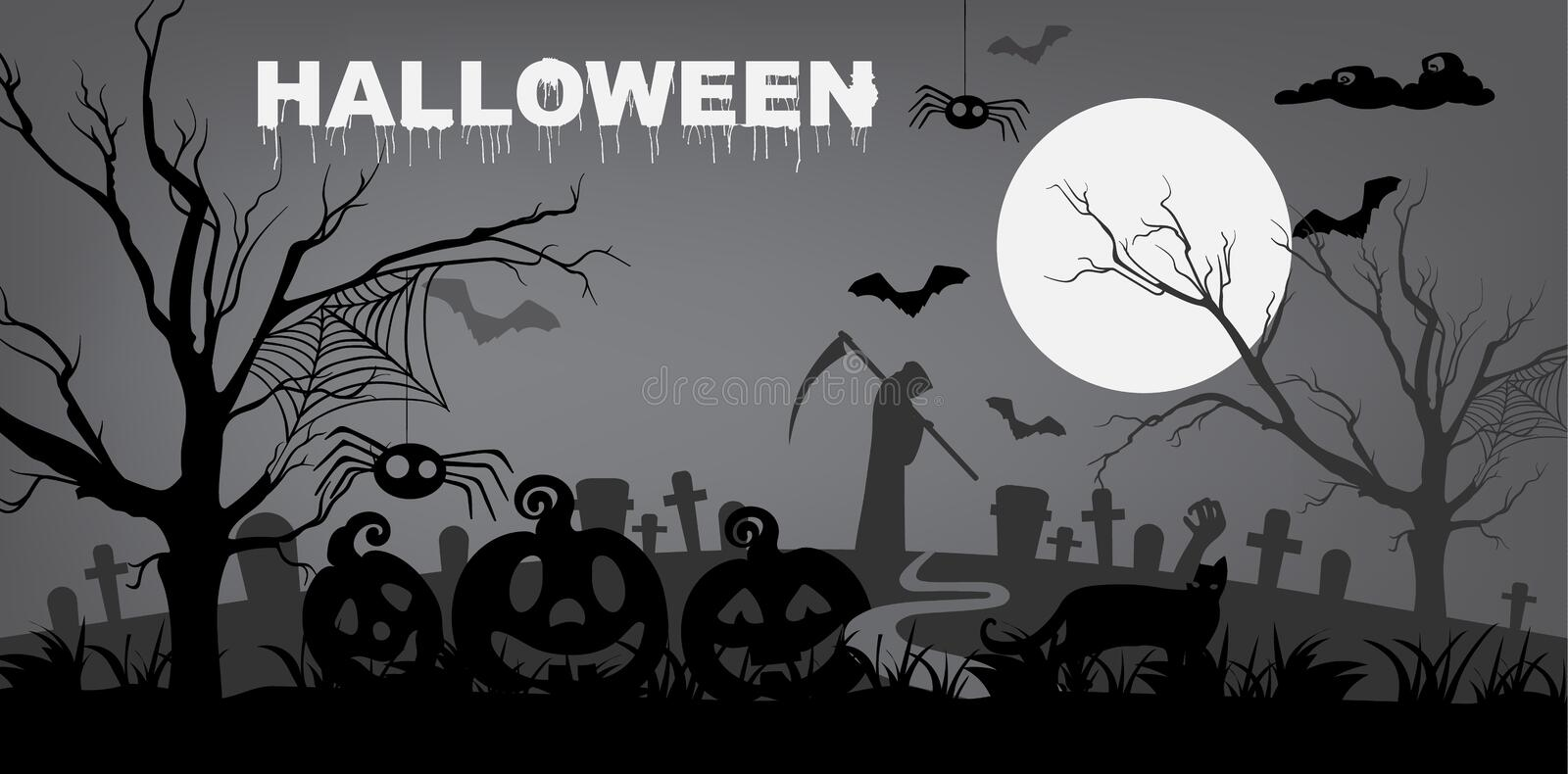 Gloomy halloween background. Gloomy halloween with cemetery, Grim Reaper death, pumpkins, spiders and trees. Holiday background vector stock illustration