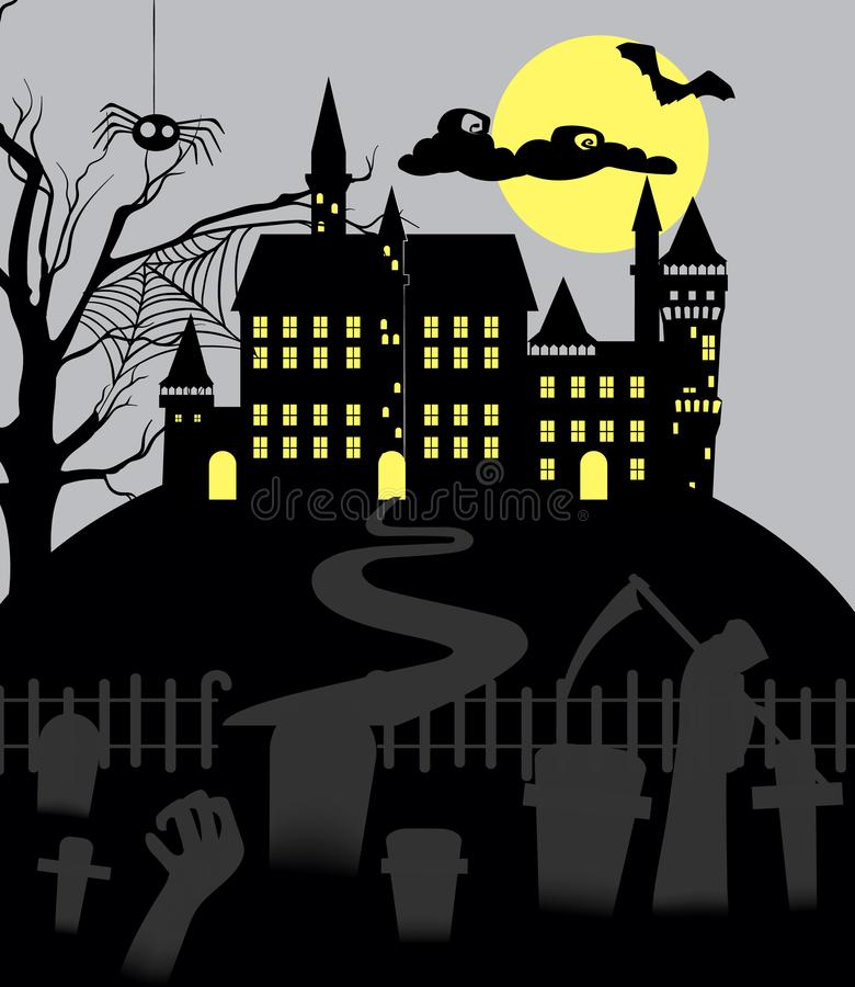 Gloomy halloween background. Gloomy halloween with cemetery, spider and castle with yellow lights. Holiday background vector stock illustration