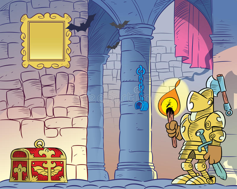 Gloomy old castle. The illustration shows the interior of the old gloomy castle. On the background of the stone walls and columns we see a knight in armor, with stock illustration