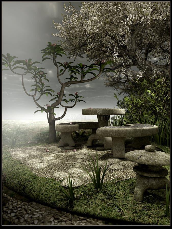 Gloomy Old Garden Stock Illustration
