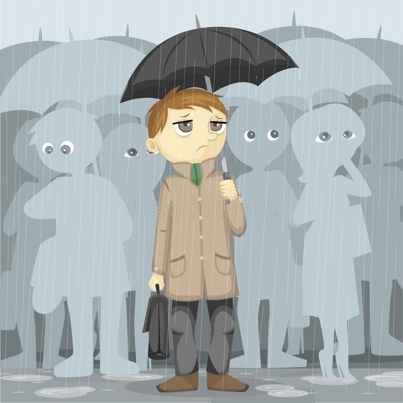 Gloomy Rainy Day. After work vector illustration