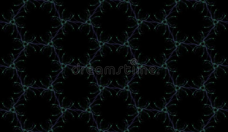Gloomy seamless pattern on black background. Abstract ornament of repeating glowing elements. Perfect for polygraphy, textile and web design vector illustration