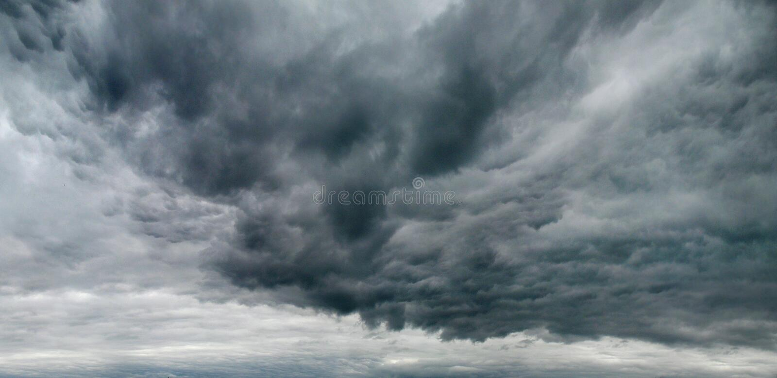 Gloomy sky with storm clouds stock images