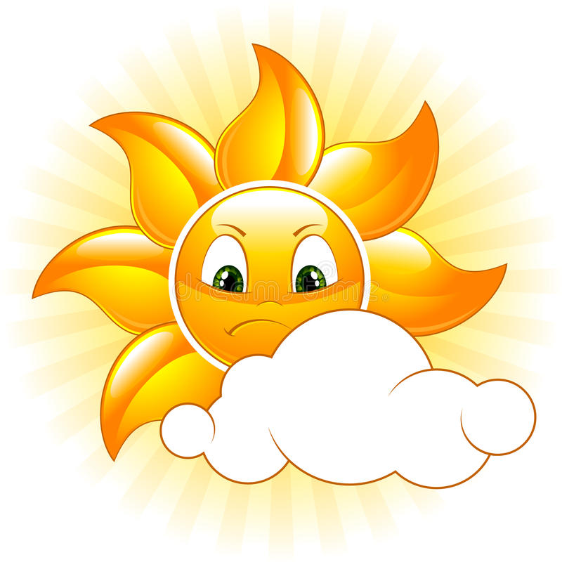 Gloomy sun. Cartoon gloomy sun. Vector illustration vector illustration