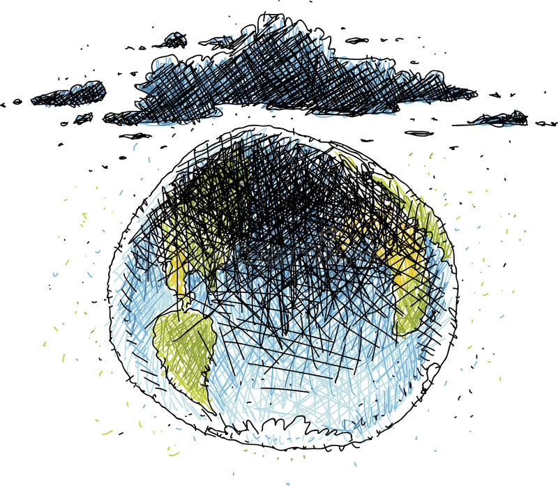 Gloomy World. Cartoon of dark, gloomy clouds cast dark shadows over the globe of the Earth stock illustration