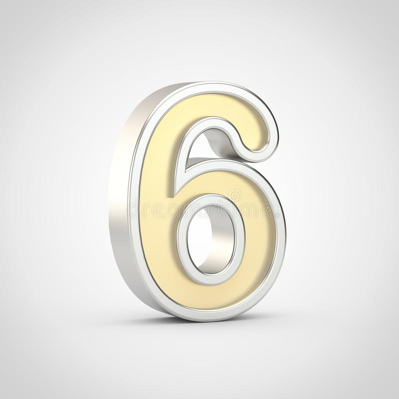 Gloosy golden number 6 with silver outline isolated on white background. stock illustration