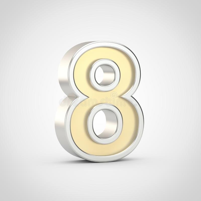 Gloosy golden number 8 with silver outline isolated on white background. vector illustration