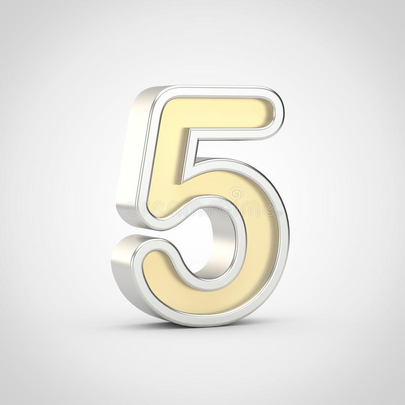 Gloosy golden number 5 with silver outline isolated on white background. royalty free illustration