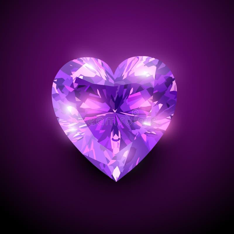 Gloowing diamond heart royalty free illustration