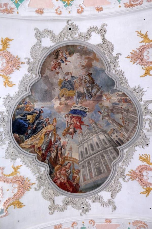 Gloria del santo Francis Xavier, fresco en el techo de la iglesia de la jesuita de St Francis Xavier en Alfalfa imágenes de archivo libres de regalías
