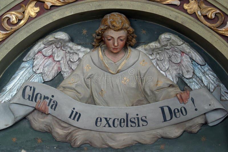 Gloria in excelsis Deo. Heavenly Angel declaring `Gloria in excelsis Deo stock photo