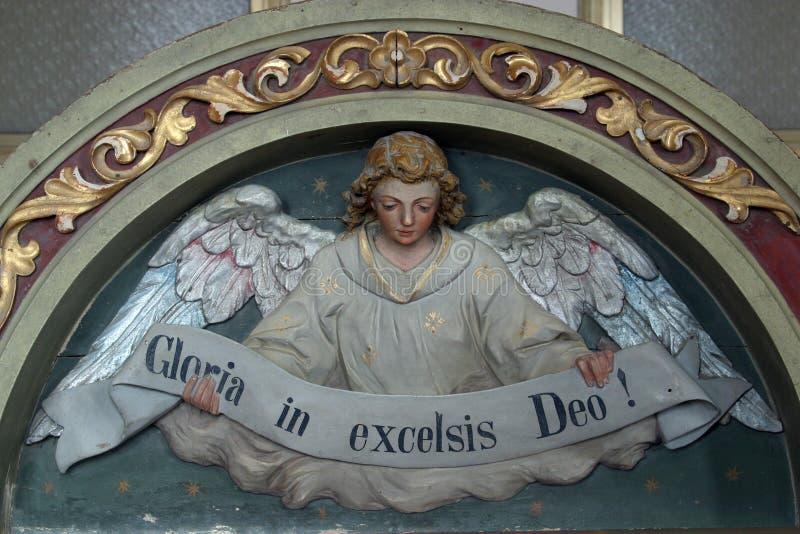 Gloria in excelsis Deo. Heavenly Angel declaring `Gloria in excelsis Deo stock image