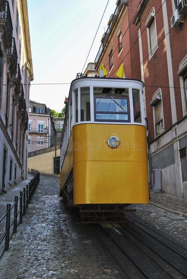 The Gloria Funicular Elevador da Gloria in the city of Lisbon, Portugal. Gloria Funicular connects the Pombaline downtown with Bairro Alto stock photography