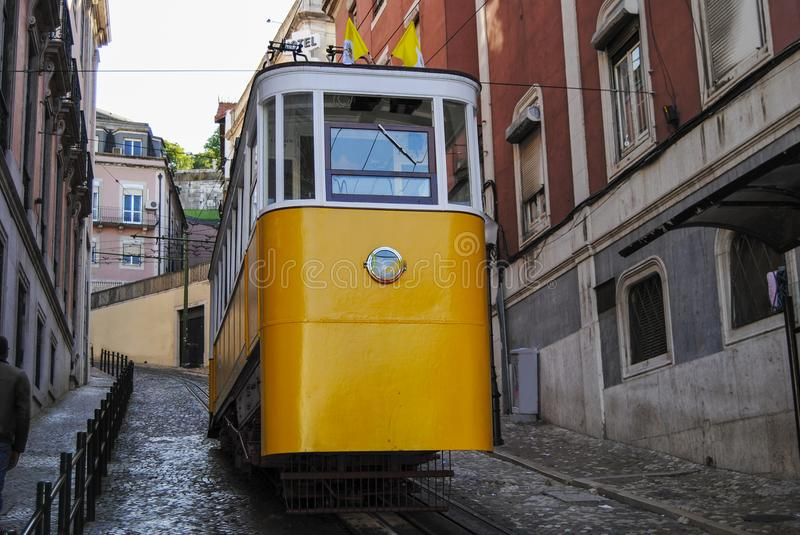 The Gloria Funicular Elevador da Gloria in the city of Lisbon, Portugal. Gloria Funicular connects the Pombaline downtown with Bairro Alto stock photo