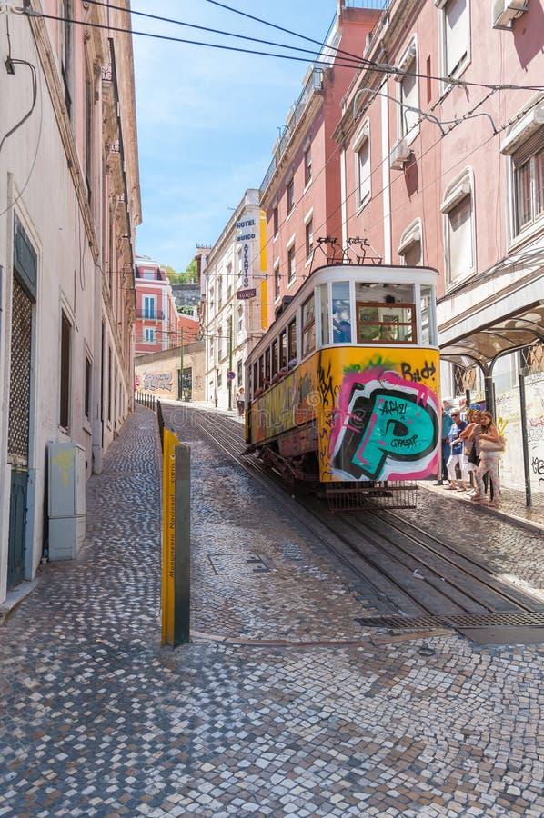 Gloria funicular in Lisbon royalty free stock photo