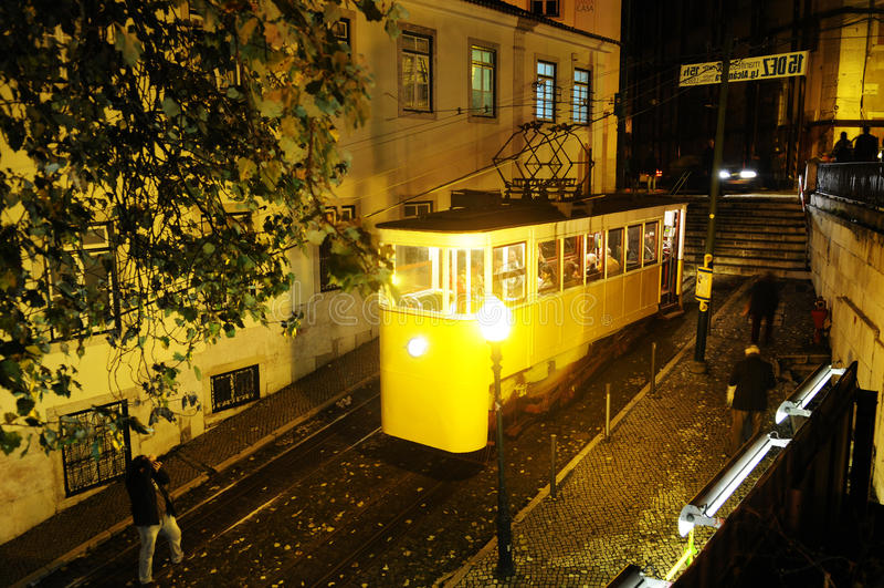 Travel Europe - Gloria Tram at Night, Lisbon City royalty free stock photo