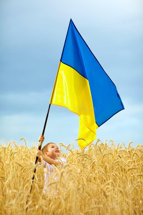 Glorie aan de Oekraïne Jongen die Oekraïense vlag op tarwegebied golven royalty-vrije stock afbeelding