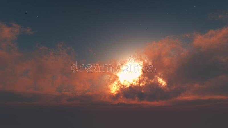 Glorierijke dageraad - zon door cumuluswolken royalty-vrije stock afbeelding