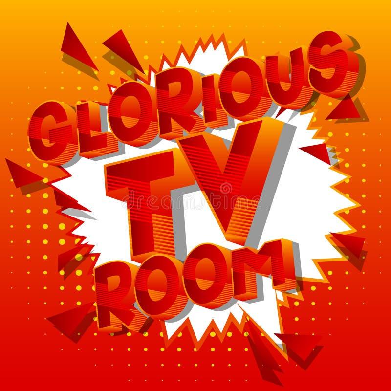 Glorierijke TV-Zaal - de Grappige woorden van de boekstijl stock illustratie