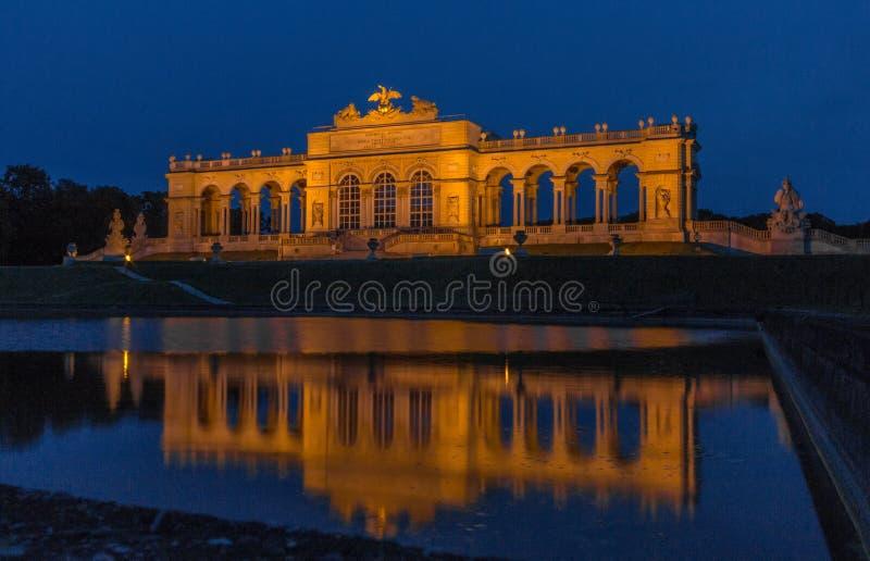 Gloriette Reflection at Night in Schonbrunn Palace gardens, Vienna, Austria royalty free stock image
