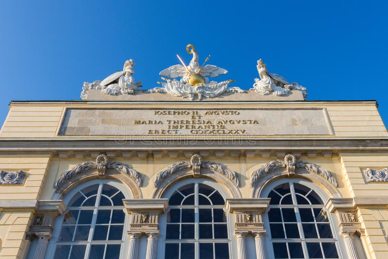 The Gloriette in Schonbrunn Palace building in Vienna, Austria. Vienna, Austria - September 3, 2019: The Gloriette in Schonbrunn Palace building in Vienna stock photo