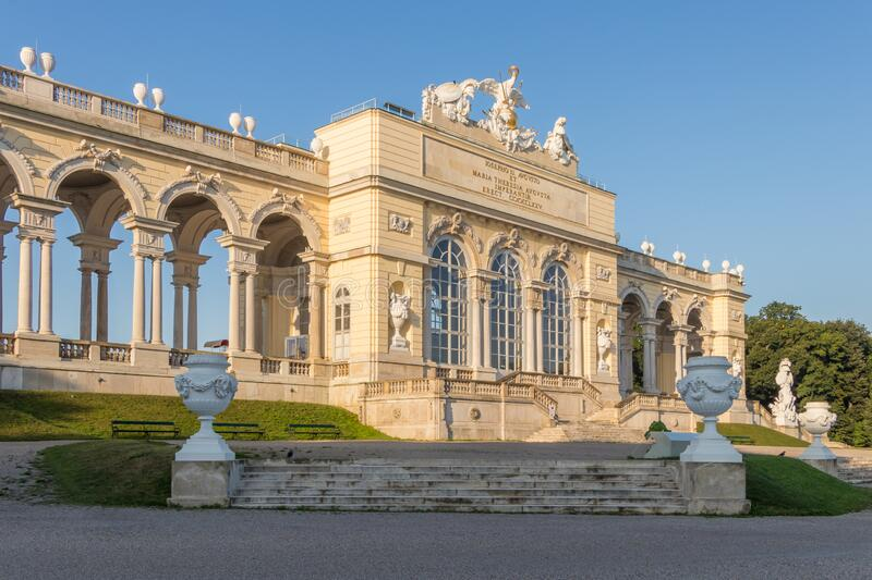 Gloriette structure in Schonbrunn palace in Vienna, Austria. Vienna, Austria - September 3, 2019: Gloriette structure in Schonbrunn palace in Vienna, Austria royalty free stock images