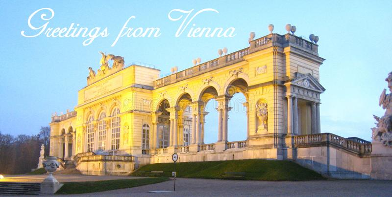 Postcard with a beautifully panorama view with the Gloriette in vienna at the blue hour royalty free stock photos