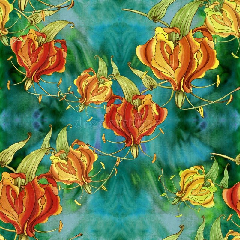 Gloriosa πρότυπο άνευ ραφής Λουλούδια και φύλλα - εικόνα υποβάθρου watercolor - διακοσμητική σύνθεση Έντυπα χρήση υλικά, σημάδια απεικόνιση αποθεμάτων
