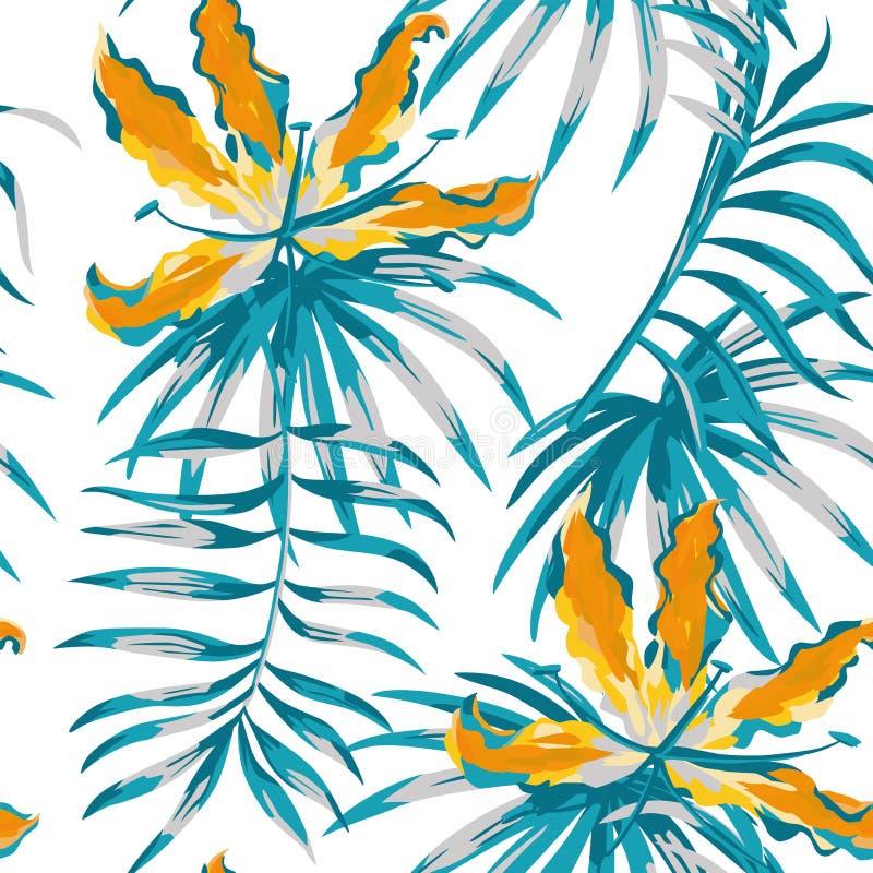 Gloriosa alaranjado que pinta o teste padrão sem emenda da cor azul ilustração royalty free