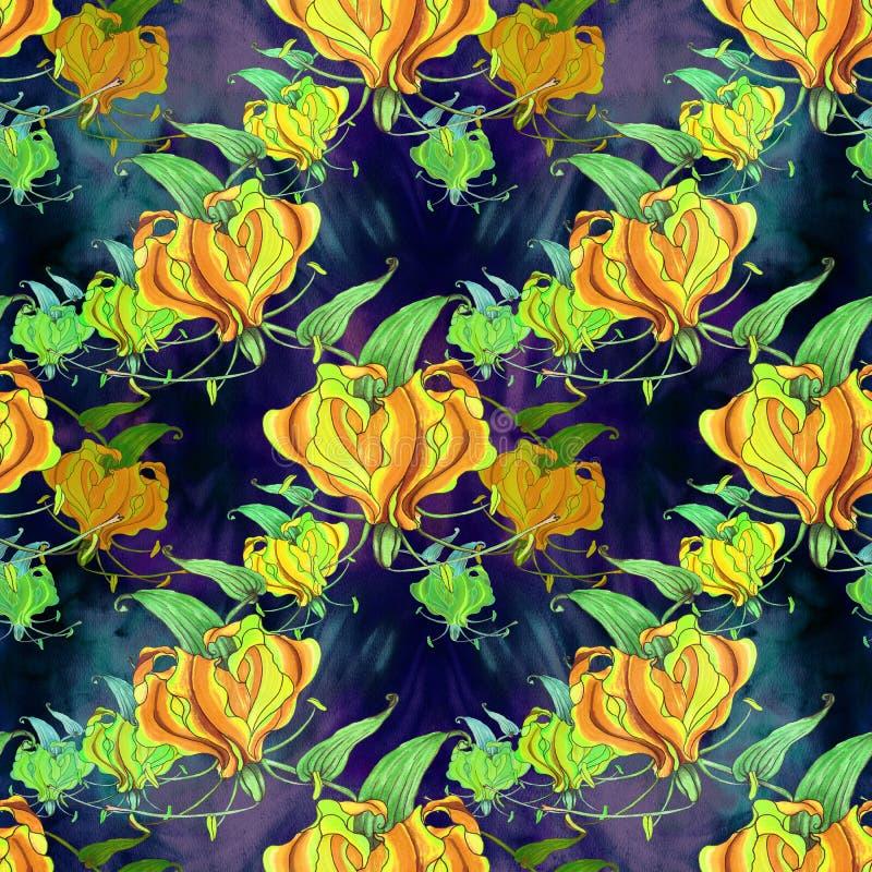 Gloriosa Teste padrão sem emenda Flores e folhas - imagem de fundo da aquarela - composição decorativa Use materiais impressos, s ilustração do vetor
