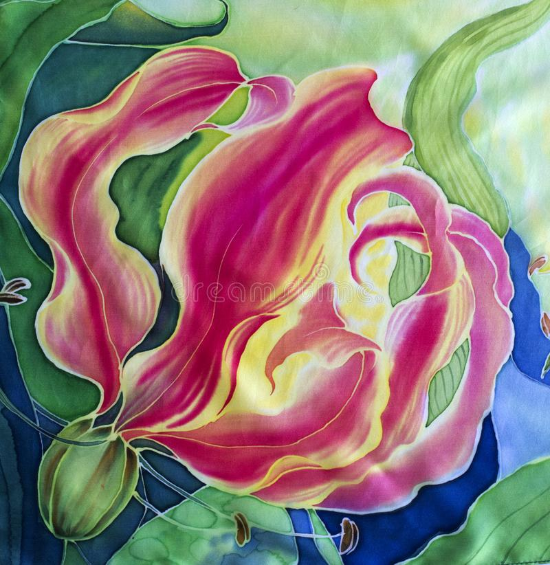 gloriosis花与叶子和芽-在丝绸的图画的 细麻花布 亚洲,非洲花 使用铅印材料,标志,项目,网 免版税图库摄影