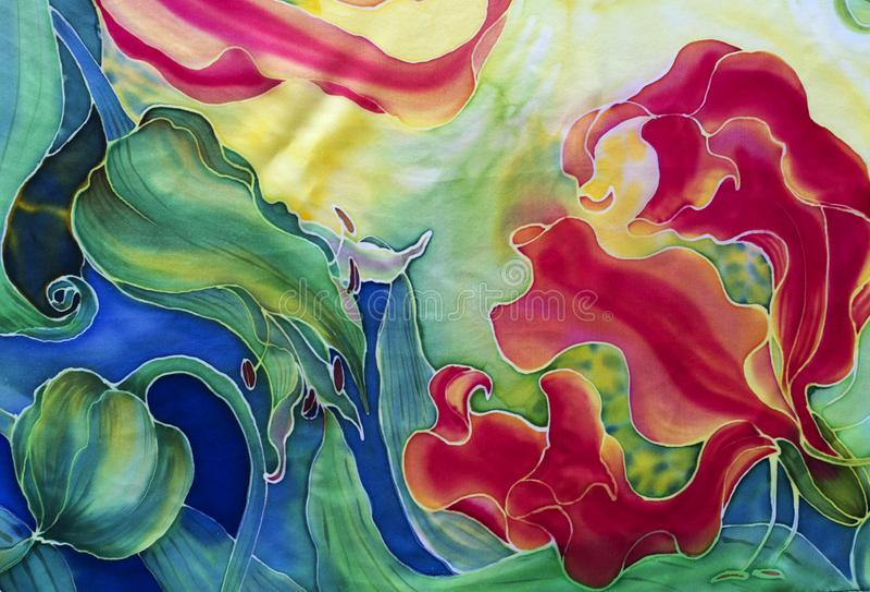 gloriosis花与叶子和芽-在丝绸的图画的 细麻花布 亚洲,非洲花 使用铅印材料,标志,项目,网 库存图片
