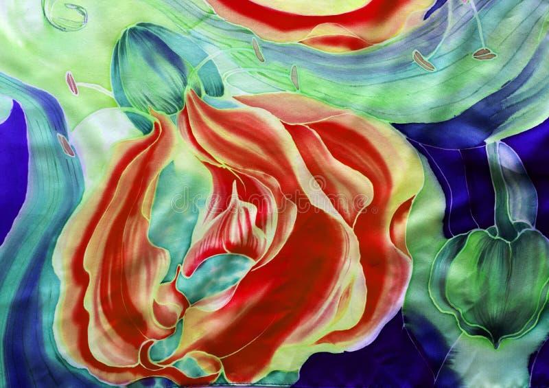 gloriosis花与叶子和芽-在丝绸的图画的 细麻花布 亚洲,非洲花 使用铅印材料,标志,项目,网 免版税库存图片