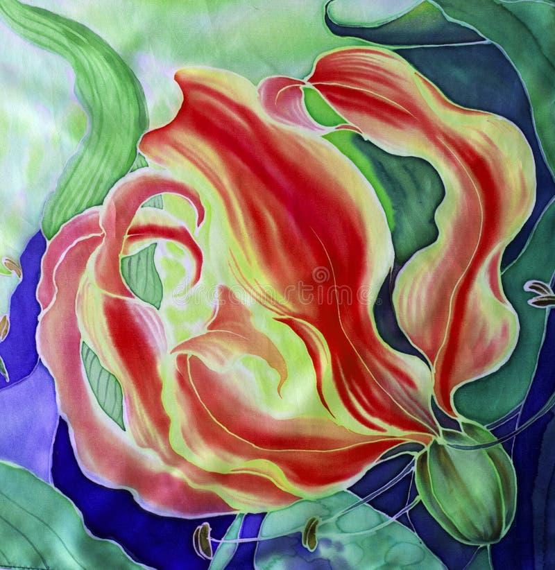 gloriosis花与叶子和芽-在丝绸的图画的 细麻花布 亚洲,非洲花 使用铅印材料,标志,项目,网 库存照片