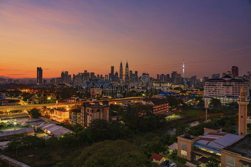 Kuala Lumpur, MALAYSIA - February 15, 2018: Glorious sunrise view of Kuala Lumpur Skyline from the north of Kuala Lumpur City Cent stock photos