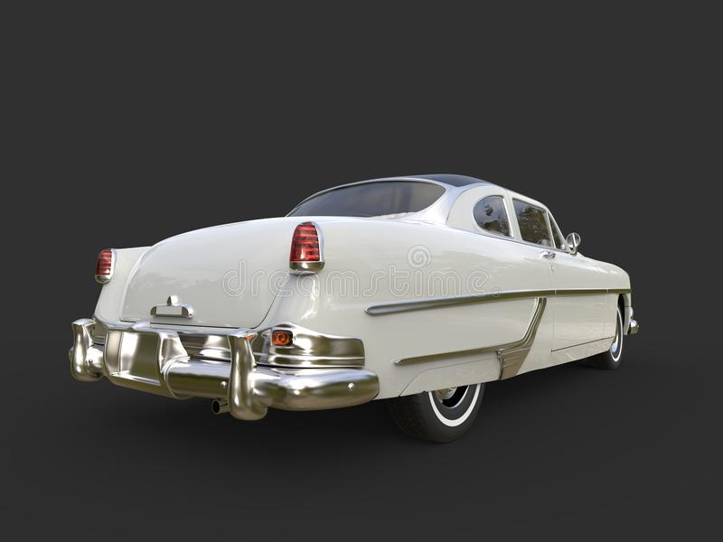 Glorious vintage pearl white car - back view royalty free stock photo