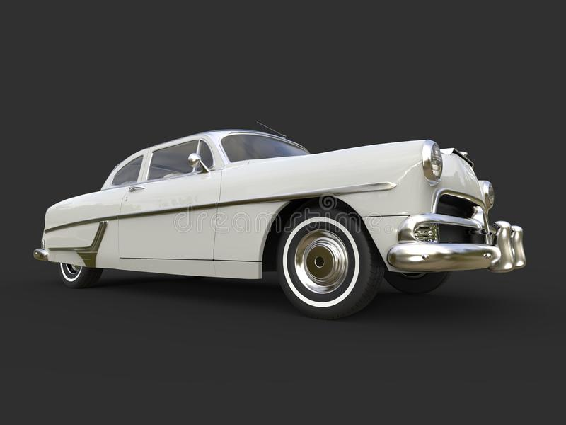 Glorious vintage pearl white car - low angle shot. Isolated on white background royalty free stock photography