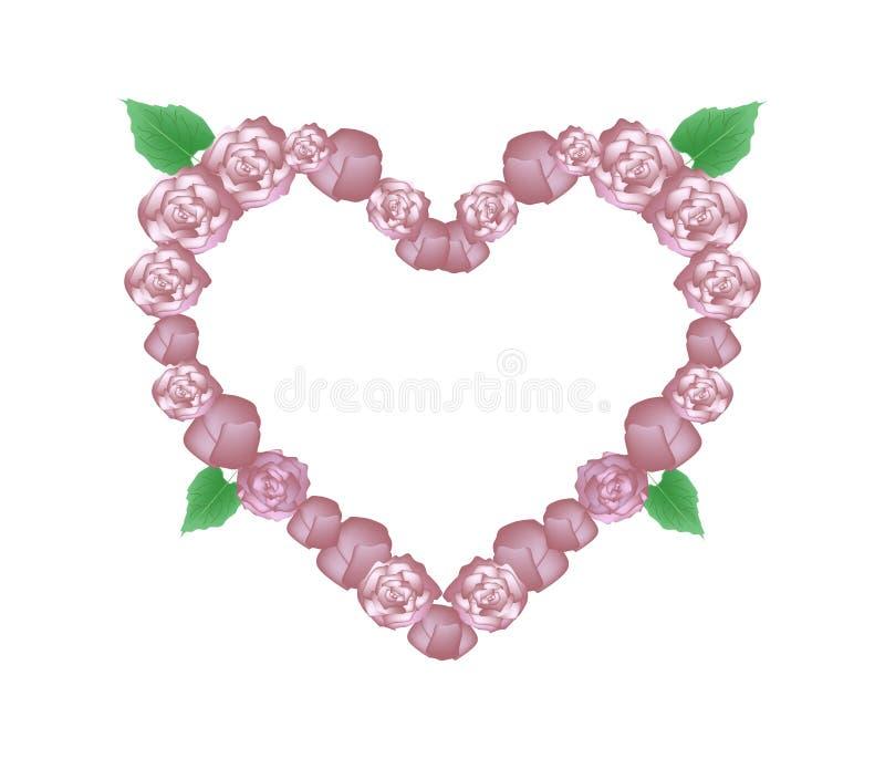 Glory Bower Flowers cor-de-rosa na forma do coração ilustração royalty free